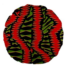 African Fabric Red Green Large 18  Premium Round Cushions