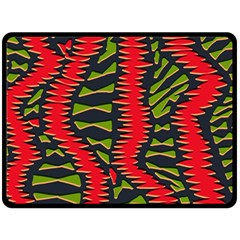 African Fabric Red Green Double Sided Fleece Blanket (large)  by Alisyart