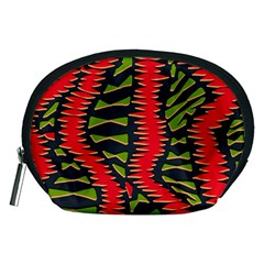 African Fabric Red Green Accessory Pouches (medium)