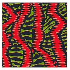 African Fabric Red Green Large Satin Scarf (square)