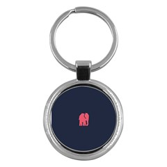 Animals Elephant Pink Blue Key Chains (round)