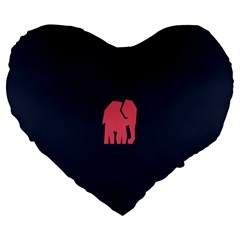 Animals Elephant Pink Blue Large 19  Premium Flano Heart Shape Cushions