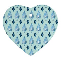 Ace Hibiscus Blue Diamond Plaid Triangle Ornament (heart) by Alisyart