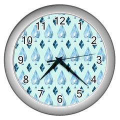 Ace Hibiscus Blue Diamond Plaid Triangle Wall Clocks (silver)  by Alisyart