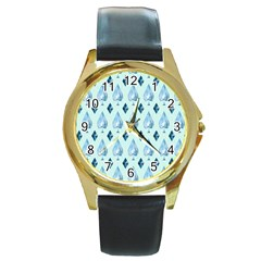 Ace Hibiscus Blue Diamond Plaid Triangle Round Gold Metal Watch by Alisyart