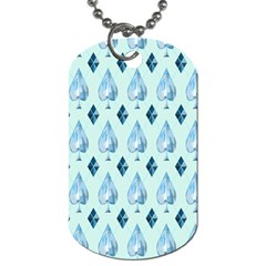 Ace Hibiscus Blue Diamond Plaid Triangle Dog Tag (one Side)