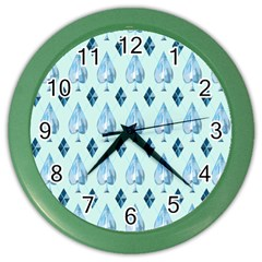Ace Hibiscus Blue Diamond Plaid Triangle Color Wall Clocks