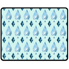 Ace Hibiscus Blue Diamond Plaid Triangle Fleece Blanket (medium)
