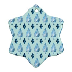 Ace Hibiscus Blue Diamond Plaid Triangle Snowflake Ornament (two Sides)