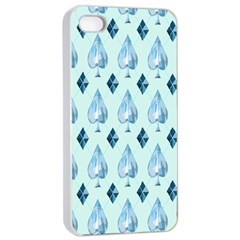 Ace Hibiscus Blue Diamond Plaid Triangle Apple Iphone 4/4s Seamless Case (white)
