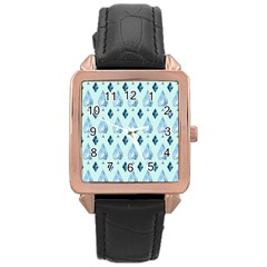 Ace Hibiscus Blue Diamond Plaid Triangle Rose Gold Leather Watch  by Alisyart