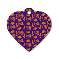 Witch Hat Pumpkin Candy Helloween Purple Orange Dog Tag Heart (one Side)