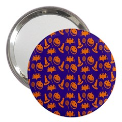 Witch Hat Pumpkin Candy Helloween Purple Orange 3  Handbag Mirrors by Alisyart