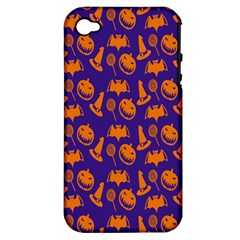 Witch Hat Pumpkin Candy Helloween Purple Orange Apple Iphone 4/4s Hardshell Case (pc+silicone) by Alisyart