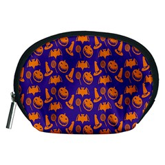 Witch Hat Pumpkin Candy Helloween Purple Orange Accessory Pouches (medium)