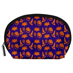 Witch Hat Pumpkin Candy Helloween Purple Orange Accessory Pouches (large)