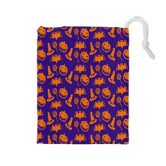 Witch Hat Pumpkin Candy Helloween Purple Orange Drawstring Pouches (large)
