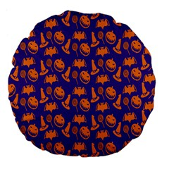 Witch Hat Pumpkin Candy Helloween Purple Orange Large 18  Premium Flano Round Cushions
