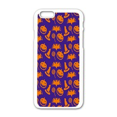Witch Hat Pumpkin Candy Helloween Purple Orange Apple Iphone 6/6s White Enamel Case by Alisyart