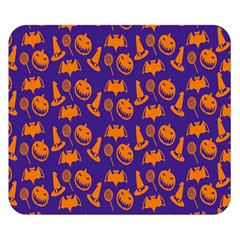 Witch Hat Pumpkin Candy Helloween Purple Orange Double Sided Flano Blanket (small)  by Alisyart