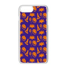 Witch Hat Pumpkin Candy Helloween Purple Orange Apple Iphone 7 Plus White Seamless Case