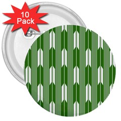Arrows Green 3  Buttons (10 Pack)