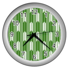 Arrows Green Wall Clocks (silver)