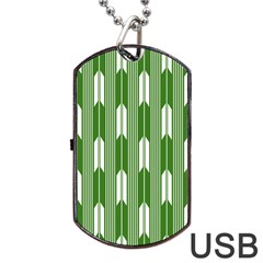 Arrows Green Dog Tag Usb Flash (one Side)