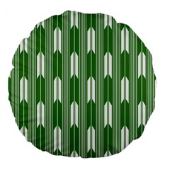 Arrows Green Large 18  Premium Flano Round Cushions