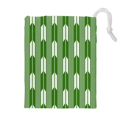 Arrows Green Drawstring Pouches (extra Large)