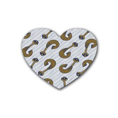 African Fabric Hair Wave Chevron Heart Coaster (4 Pack)