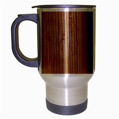 Wood Grain Texture Brown Travel Mug (silver Gray) by Amaryn4rt