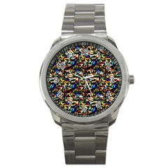 Abstract Pattern Design Artwork Sport Metal Watch by Amaryn4rt