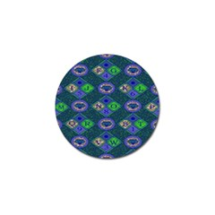 African Fabric Number Alphabeth Diamond Golf Ball Marker (4 Pack)