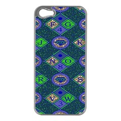 African Fabric Number Alphabeth Diamond Apple Iphone 5 Case (silver) by Alisyart
