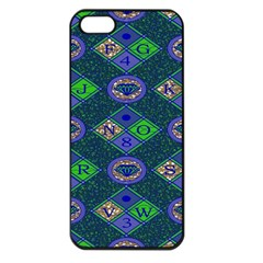 African Fabric Number Alphabeth Diamond Apple Iphone 5 Seamless Case (black)