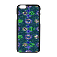 African Fabric Number Alphabeth Diamond Apple Iphone 6/6s Black Enamel Case