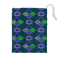 African Fabric Number Alphabeth Diamond Drawstring Pouches (extra Large) by Alisyart