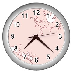 Bird City Sing Pink Notes Music Wall Clocks (silver)