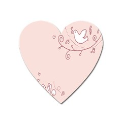 Bird City Sing Pink Notes Music Heart Magnet by Alisyart