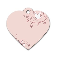 Bird City Sing Pink Notes Music Dog Tag Heart (one Side) by Alisyart