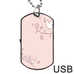 Bird City Sing Pink Notes Music Dog Tag Usb Flash (one Side)