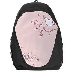 Bird City Sing Pink Notes Music Backpack Bag by Alisyart