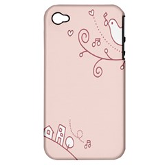 Bird City Sing Pink Notes Music Apple Iphone 4/4s Hardshell Case (pc+silicone)