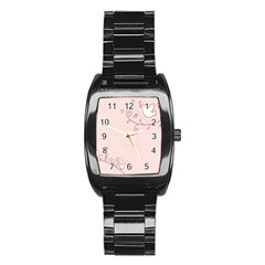 Bird City Sing Pink Notes Music Stainless Steel Barrel Watch