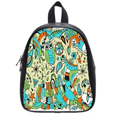 Animals Caterpillar Worm Owl Snake Leaf Flower Floral School Bags (small)