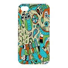 Animals Caterpillar Worm Owl Snake Leaf Flower Floral Apple Iphone 4/4s Hardshell Case