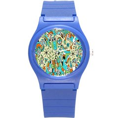 Animals Caterpillar Worm Owl Snake Leaf Flower Floral Round Plastic Sport Watch (s)