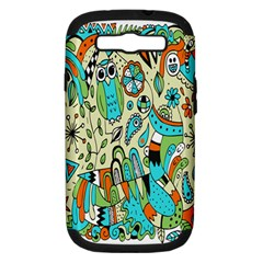 Animals Caterpillar Worm Owl Snake Leaf Flower Floral Samsung Galaxy S Iii Hardshell Case (pc+silicone)