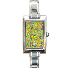 Animals Fish Green Pink Blue Green Yellow Water River Sea Rectangle Italian Charm Watch